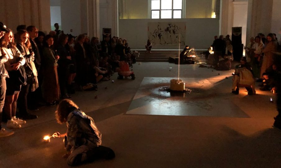 During Art Week the city's institutions host a number of art bars, where the audience can encounter art under special and relaxing circumstances. The tickets were sold out almost immediately when Nikolaj Kunsthal in 2019 opened their doors to an art bar with a performance by artist Andreas Emenius with music from Trentemøller and Henrik Vibskov. Photo: Christian Brems.