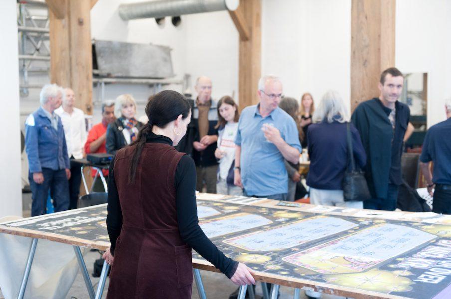 Studio talk og præsentation af nyt kunstværk med Molly Haslund på Statens Værksteder for Kunst. Foto: Christian Brems.